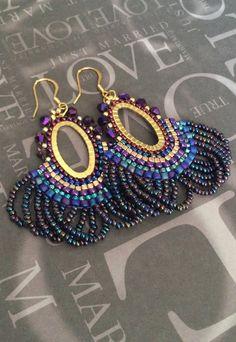 Beaded Fringe Earrings - Metallic Peacock Seed Bead Earrings Beadwork Jewelry
