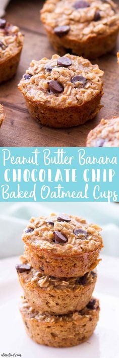 Peanut Butter Banana Chocolate Chip Baked Oatmeal Cups Chelsea Yano yanochelsea Dessert Peanut Butter Banana Chocolate Chip Baked Oatmeal Cups -- These easy baked oatmeal cups are full of peanut butter, bananas, and chocolate chips! Easy Brunch Recipes, Best Breakfast Recipes, Dessert Recipes, Breakfast Ideas, Desserts, Homemade Chocolate Chips, Homemade Oatmeal, Chocolate Cups, Peanut Butter Recipes