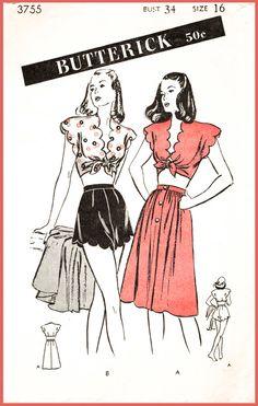 1940s 40s Butterick 3755 vintage sewing pattern beachwear playsuit crop top high waist shorts sun skirt scallop edge bust 34 b34 reproduction