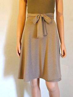 Wrap Over Skirt Knee Length Midi Bias Cut A by liberatedclothing