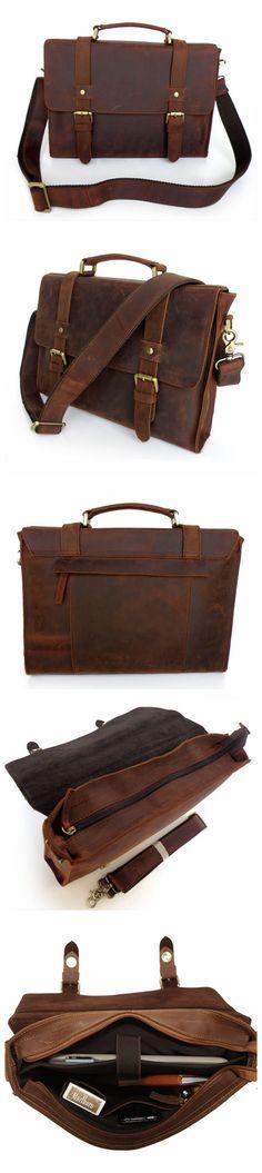 Vintage Style Leather Briefcase Messenger Bag Satchel Bag Crossbody Shoulder Bag
