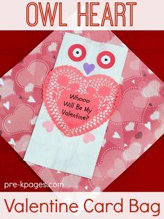 Owl Paper Bag Valentine Card Holder