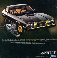 Ford Mercury Capri II S Advertising Road & Track April 1976 Ford Capri, Mercury Capri, Ford Motor Company, Dream Cars, Ford Classic Cars, Classic Auto, Ad Car, Ford Lincoln Mercury, Car Advertising