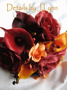 Autumn Colors Wedding Flower Package  4 Piece by detailsbyjlynn,