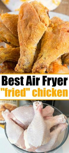 """With a light breading these chicken drumsticks, wings or breasts will have moist meat but a nice crispy outside. fryer recipes chicken drumsticks How to Make Air Fryer """"Fried"""" Chicken! Air Fryer Recipes Snacks, Air Fryer Recipes Breakfast, Air Frier Recipes, Air Fryer Dinner Recipes, Breakfast Meals, Air Fryer Fried Chicken, Air Fried Food, Fried Chicken Recipes, Oven Fried Chicken Legs Recipe"""