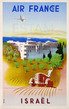 EVEN AIR FRANCE ISRAEL 1949 PM 31.5X50 HAVAS by estampemoderne, via Flickr