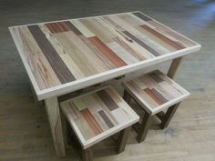 Reclaimed Wood Table and Stools