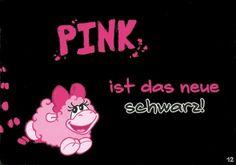 Olaf das Grummelschaf und Poppy Postkarte mit lustigen Sprüchen - Pink ist das neue Schwarz! Postkarten Lustige Sprüche