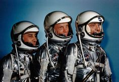 Astronauts Alan Shepard, John Glenn and Virgil I. Grissom, suited up in May, 1961.