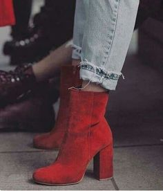 How to wear red boots booties high heels 33 new ideas Sock Shoes, Cute Shoes, Me Too Shoes, Shoe Boots, Heeled Boots, Boot Heels, Ankle Heels, Looks Street Style, Boating Outfit