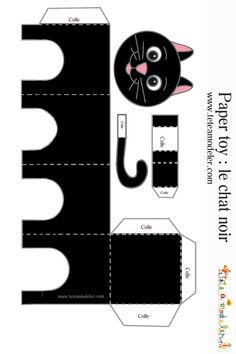 Cats Toys Ideas - Chat noir à imprimer - Ideal toys for small cats Foam Crafts, Paper Crafts, Paper Art, Diy For Kids, Crafts For Kids, Diy Cat Toys, Ideal Toys, Paper Animals, Small Cat