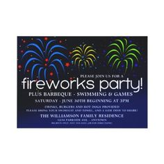 Fireworks Party Invitation #fireworks #party #4thofjuly