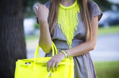 must have!!! fluo hermes handbags+ fluo necklace
