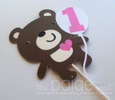 Teddy Bear Cupcake Topper - 12 - beary fun bear collection on Etsy, $12.00