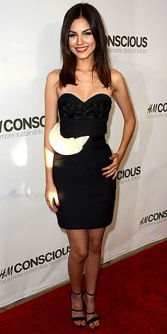 Victoria Justice in a LBD at H & M's Conscious Collection launch  in West Hollywood April 2013
