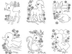 Retro Embroidery Patterns Vintage Embroidery Transfer repo 7436 Animals for a Nursery Quilt PATTERN Embroidery Materials, Iron On Embroidery, Embroidery Sampler, Baby Embroidery, Embroidery Transfers, Machine Embroidery Patterns, Hand Embroidery Designs, Vintage Embroidery, Embroidery Stitches