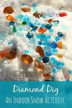 "Snowy sensory bin - Bring the snow indoors for a ""Diamond Dig""! - Happy Hooligans"
