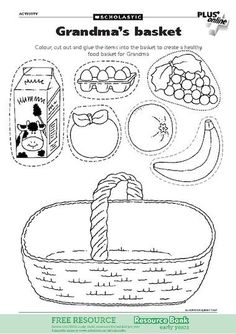 Help make a healthy food basket for Little Red Riding Hood& Grandma Preschool Learning, Kindergarten Worksheets, Worksheets For Kids, Learning Activities, Preschool Activities, Nutrition Activities, Early Years Teaching, Fairy Tales Unit, Picnic Theme