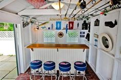 Storage shed w/bar done in a Cape Cod style.