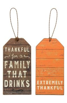 Primitives by Kathy 'Thankful for a Family that Drinks' Bottle Tag available at #Nordstrom