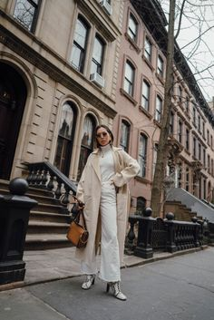 All White Look with Cream Wool Coat
