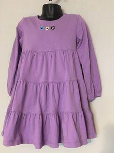 b7b7063f2d5 Hanna Andersson Tiered Twirl Dress 110 US 5 Purple Long Sleeve Embroider  Flowers. Mini BodenHanna ...