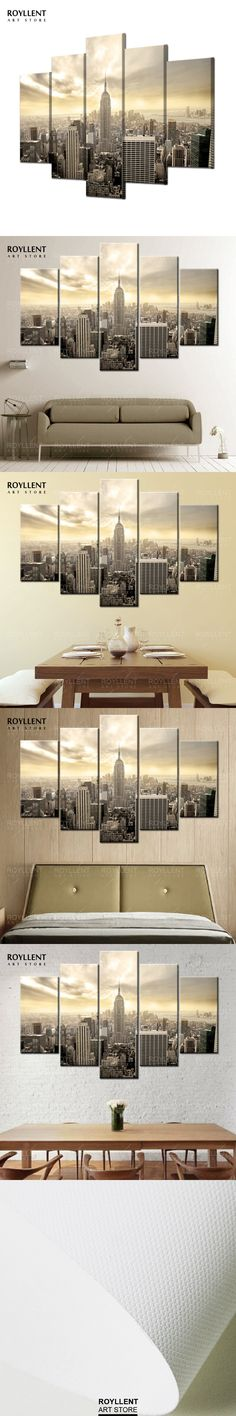 5Pcs New York Empire State Building Picture Painting For Living Room Home Decor Modern Wall Art Canvas Prints(unframed) RA0090 $65.2