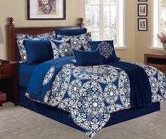Suzani Navy & White 12-Piece King Comforter Set at Big Lots.