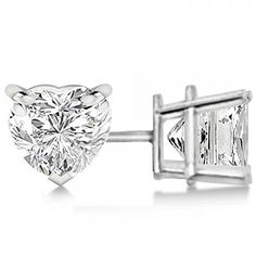 H SI 05ct Modern Heart Cut 4Prong Basket Diamond Earrings Platinum -- Find out more about the great product at the image link. Note:It is Affiliate Link to Amazon.