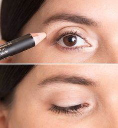 """For bright well rested eyes - use concealer slightly lighter than your skin tone, to these 3 areas - the inner """"V"""", the middle section of the eyelid and just below the brow bone and lightly blend."""