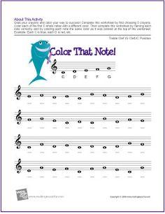 Color That Note! | Treble Clef Note Name Worksheet - http://makingmusicfun.net/htm/f_printit_free_printable_worksheets/color-that-note-treble-clef-c-position-worksheet.htm