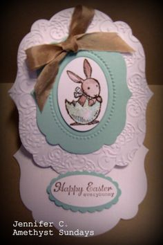 Stampin Up Easter Bunny using the Big Shot, Embossing folders, and Everybunny stamp set.