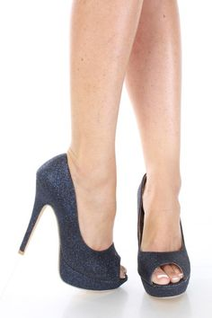 Dark Blue Faux Leather Glitter Peep Toes Platform Heels / Sexy Clubwear | Party Dresses | Sexy Shoes | Womens Shoes and Clothing | AMI CLubw...