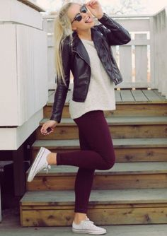 Leather jacket & white converse