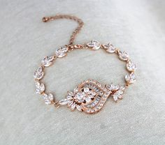 Rose Gold Bridal bracelet Crystal Wedding bracelet Bridal