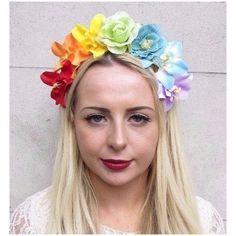 Rainbow Rose Flower Garland Headband Hair Band Crown Festival Boho... ($14) ❤ liked on Polyvore featuring accessories, hair accessories, headbands & turbans, silver, boho flower crown, flower garland, artificial flower garlands, floral crowns and flower headbands