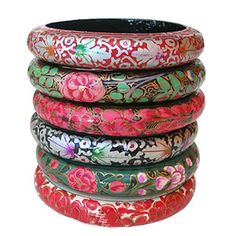 Floral and bright bracelets.