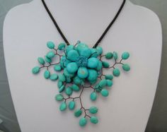 beadwork necklace,bib necklace,statement necklace,strand necklace,turquoise necklace,Beaded Jewelry ,flower necklace With Turquoise Flower