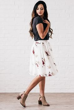Modest Whimsical White with Red Floral A line Skirt - MFS6107