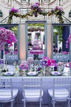 Three Large Mirrors Back The Head Table, Showing Off The Purple Cake And Dramatic Floral Arrangements. #2028644