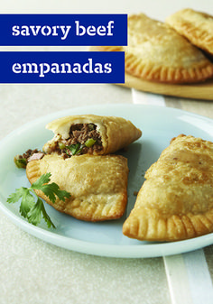 Savory Beef Empanadas – These delicious empanadas are made with a versatile dough that can be either fried or baked—making these flavorful bites the perfect appetizer to serve for the big game.