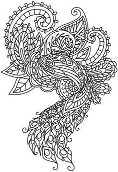 Embroidery Designs at Urban Threads - Mendhika Peacock Hand Embroidery Designs, Embroidery Patterns, Machine Embroidery, Indian Embroidery, Coloring Book Pages, Printable Coloring Pages, Paisley, Urban Threads, Indian Patterns
