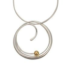 Necklaces and Pendants 165074: Ed Levin Sterling Silver And 14K Gold Bindu Pendant With Chain, 18 BUY IT NOW ONLY: $319.0