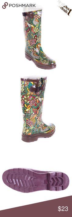 Women's rubber rainboots rainforest design. RB1513 Rubber rainboots colorful design RB1513 Shoes Winter & Rain Boots
