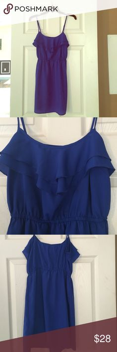 Blue ruffle sun dress Royal blue sun dress with ruffle accent at the chest. 100% polyester. Great condition. Forever 21 Dresses Mini
