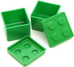 2 green lego sauce container for Bento Box lunch box