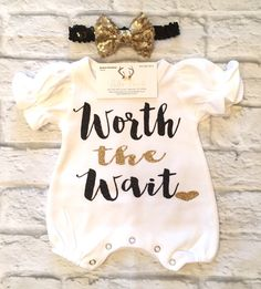 A personal favorite from my Etsy shop https://www.etsy.com/listing/498591066/baby-girl-clothes-worth-the-wait-romper