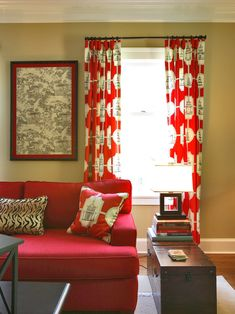 Red Couch Design, Pictures, Remodel, Decor and Ideas - page 4.  Lots of red, but it looks great.