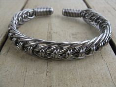 men's stainless steel hand bent wire woven cuff by cricketcapers, $45.00