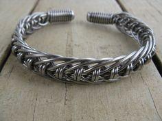 Men S Stainless Steel Hand Bent Wire Woven Cuff Bracelet